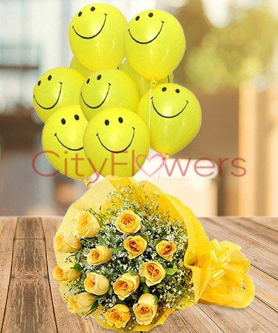 DOZEN YELLOW ROSES WITH SMILEY flowers CityFlowersIndia