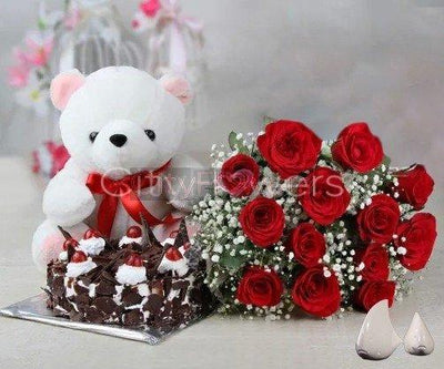 DELIGHTFUL CAKE AND BLOOM WITH SOFT TEDDY BEAR flowers CityFlowersIndia