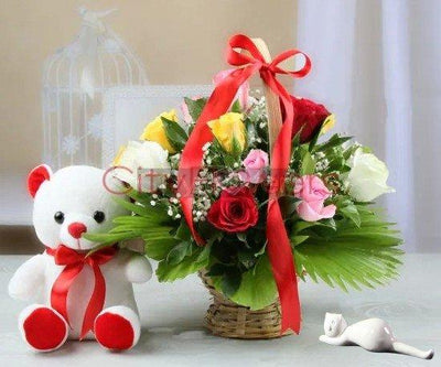 ASSORTED BASKET ARRANGEMENT WITH TEDDY BEAR flowers CityFlowersIndia
