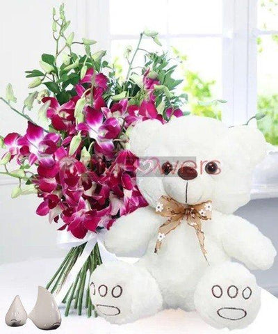 BLISSFUL FLOWERS WITH ADORABLE TEDDY flowers CityFlowersIndia