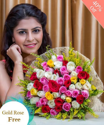 Colorful Flowers By City Flowers - Free Golden Rose flowers CityFlowersIndia
