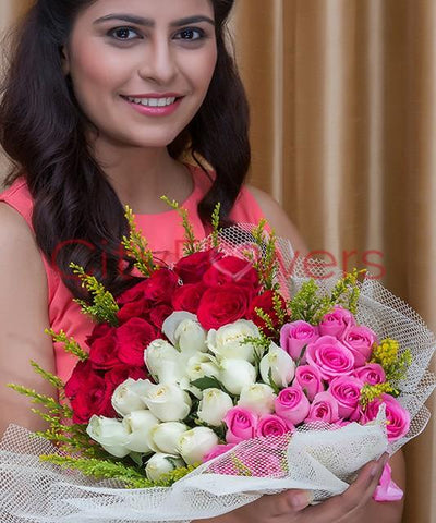 Red and Pink Combination by City Flowers - Free Golden Rose flowers CityFlowersIndia