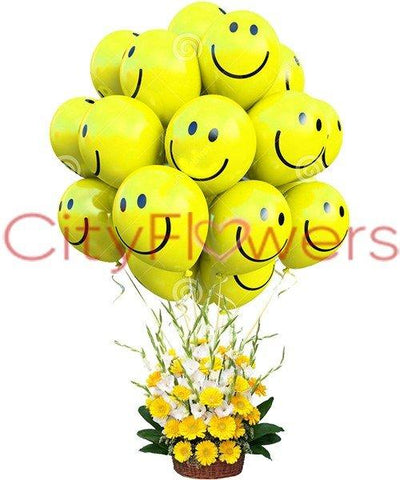 SMILEYS WITH FLOWER BASKET flowers CityFlowersIndia