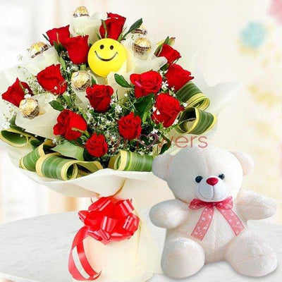 CHOCOLATE BOUQUET OF FERRARO ROCHER, ROSES & SMILEY BALLOONS flowers CityFlowersIndia