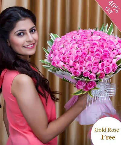Elegant Pink Roses By City Flowers - Free Golden Rose flowers CityFlowersIndia