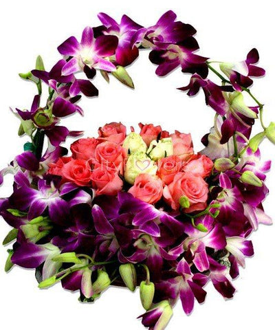 ORCHIDS DECOR BASKET WITH ROSES flowers CityFlowersIndia