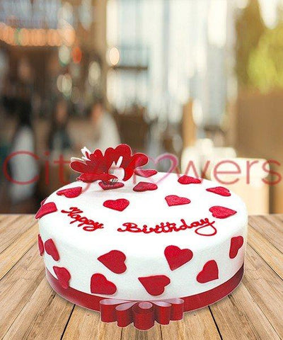 HEARTY BIRTHDAY CAKE flowers CityFlowersIndia
