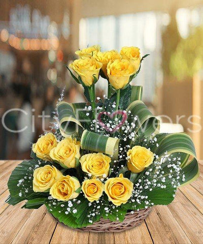 DELIGHTFUL YELLOW BASKET flowers CityFlowersIndia