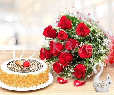 FRESH SUGAR DELIGHT WITH CAKE flowers CityFlowersIndia