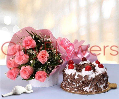 BLOOMING FLOWERS WITH BLACK FOREST CAKE flowers CityFlowersIndia