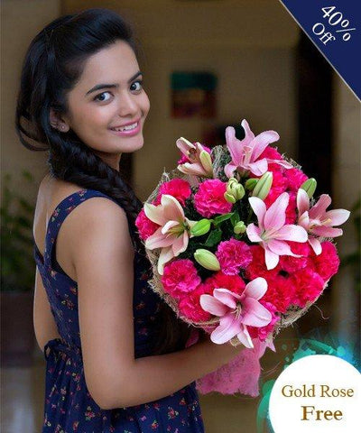 Pink and Pink By City Flowers - Free Golden Rose flowers CityFlowersIndia