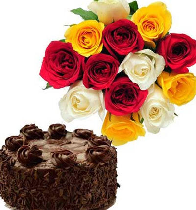 Joyful Cake Surprise flowers CityFlowersIndia