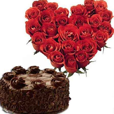 Hearty Surprise with Cake flowers CityFlowersIndia
