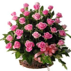 Basket Delight of Pink Roses flowers CityFlowersIndia