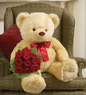 Big Bear with Dozen Roses flowers CityFlowersIndia