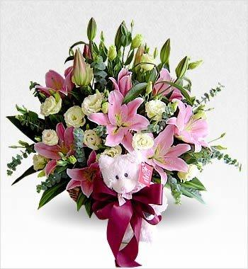 Lily Of My Heart With Teddy flowers CityFlowersIndia