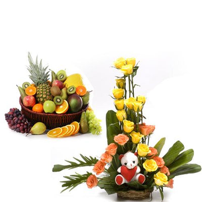 Fruits and Surprise flowers CityFlowersIndia