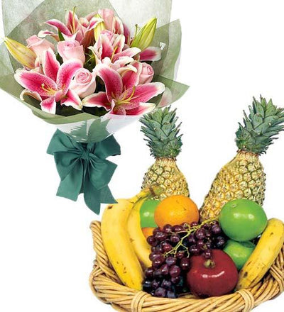 "TROPICAL TREAT ""FRUIT BASKET & LILIES"" flowers CityFlowersIndia"