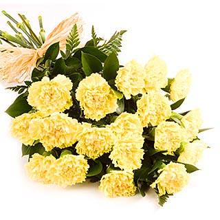 Bright Yellow - 18 Carnations flowers CityFlowersIndia