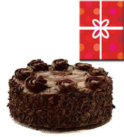 Chocolate Cake and Card. flowers CityFlowersIndia
