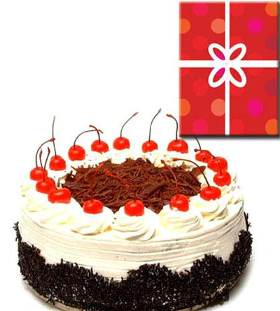 Black Forest Cake & Occasional Card. flowers CityFlowersIndia