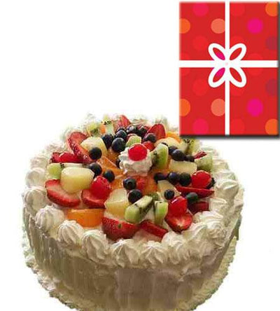 Fresh Fruit Cake Delight & Card flowers CityFlowersIndia