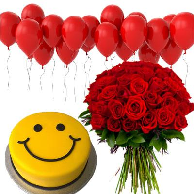 Balloons, Smiley Cake & Red Bouquet flowers CityFlowersIndia