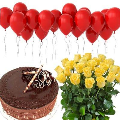 Perfect Birthday Surprise with Balloons flowers CityFlowersIndia