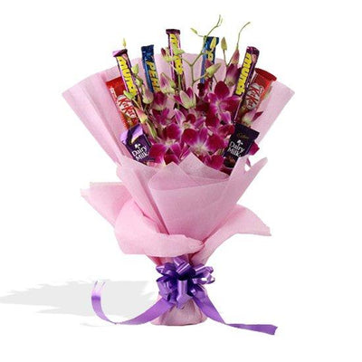 Orchid Embrace(Assorted Chocolate Bouquet) flowers CityFlowersIndia