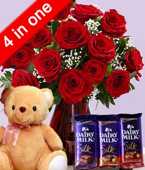 4 in One Love Combo flowers CityFlowersIndia