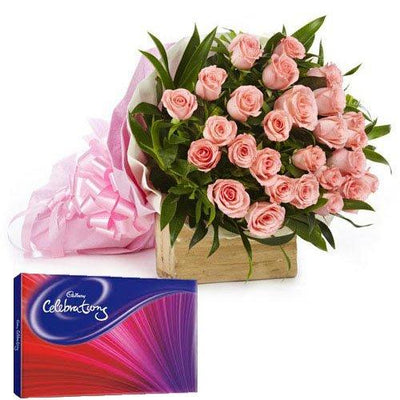 Choco Pink Surprise flowers CityFlowersIndia