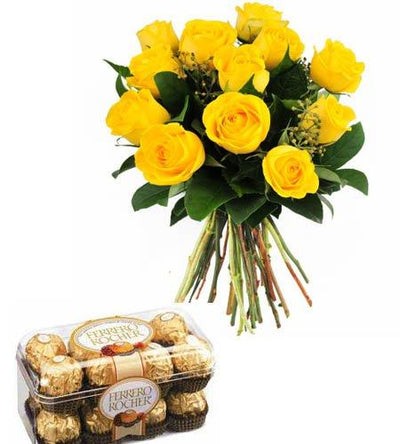 Sunshine Love with Ferrero Chocolates flowers CityFlowersIndia