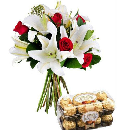 Alluring Lilies with Premium Roses flowers CityFlowersIndia
