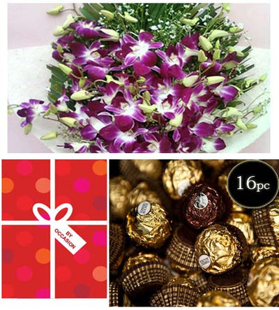 Remembrance With Orchids and Ferrero Bouquet flowers CityFlowersIndia
