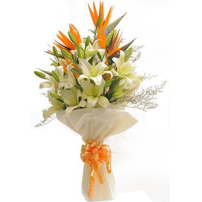 Courteous Lilies & BOP Hand Tied Bunch flowers CityFlowersIndia