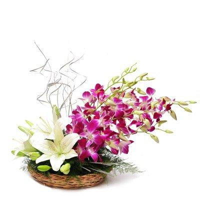 Sterling Basket Arrangement flowers CityFlowersIndia