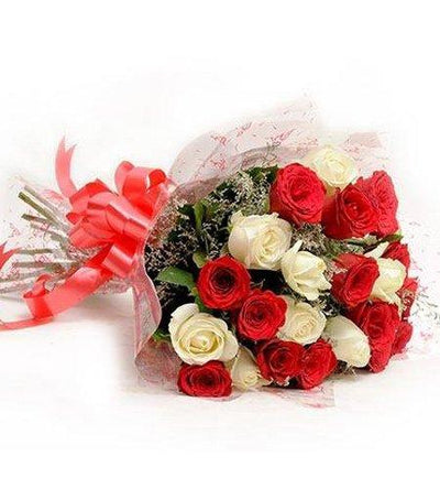 Elegance of White & Red Roses flowers CityFlowersIndia