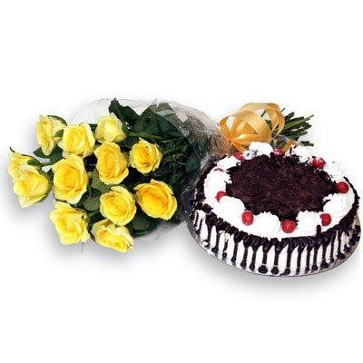 Friendly Surprise with Cake flowers CityFlowersIndia