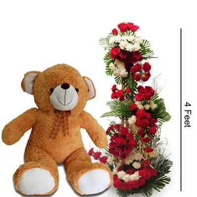Teddy Surprise with tall Arrangement (Deluxe) flowers CityFlowersIndia