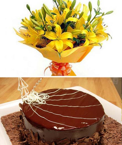 Bright Yellow Lilies & Cake flowers CityFlowersIndia