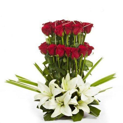 Bloom Lilies & Roses Basket flowers CityFlowersIndia