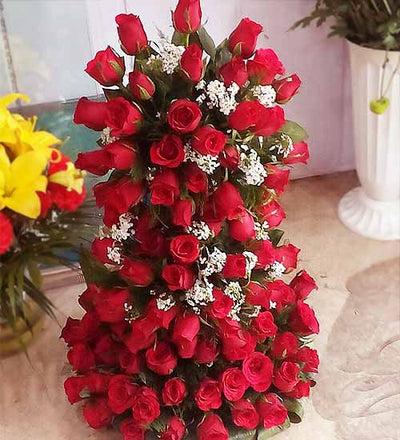 Romance of 100 Roses - TALL flowers CityFlowersIndia
