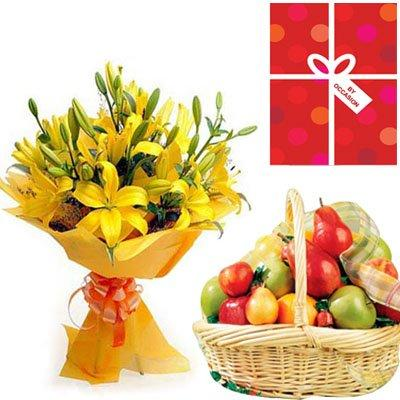 Healthy Fruits & Lilies Bouquet flowers CityFlowersIndia