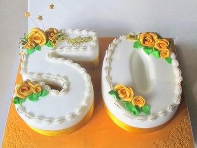 Double Number Shape Cake flowers CityFlowersIndia