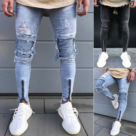Men's Skinny Slim Fit Straight Ripped Destroyed Distressed Zipper Stretch Knee Patch Denim Pants Jeans Men's Slim Fit Jeans