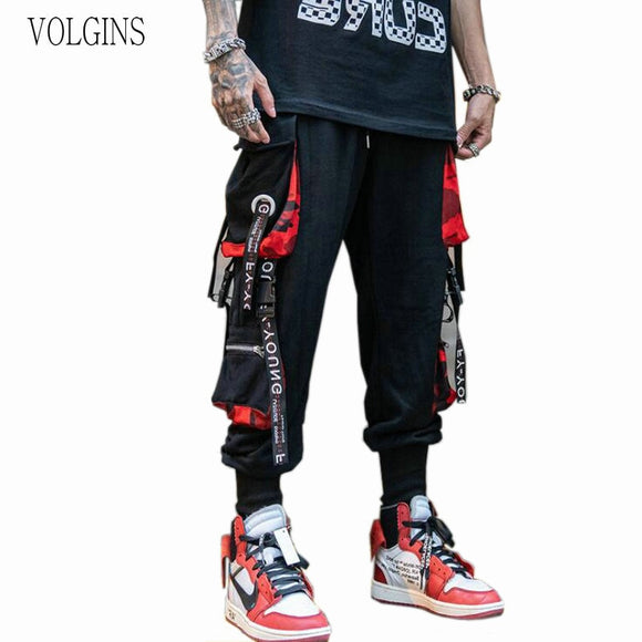 Streetwear Men's Cool Pants Pocket Loose Men HipHop New Fashion Joggers Pants Trousers Men Hombre Male Casual Fashion Cargo