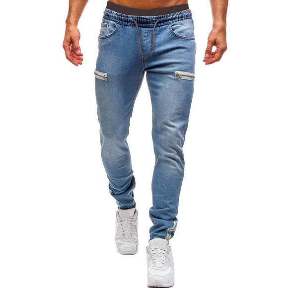 Men's Elastic Cuffed Pants Casual Drawstring Jeans Training Jogger Athletic Pants Sweatpants 2020 New Fashion Zipper Pants