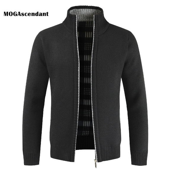 Men's Winter Thick Fleece Cardigan New Fashion Business Casual Sweatercoat Men Slim Fit Knitwear Outwear Warm Sweater Jumper