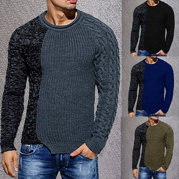 Men's Fashion Round Neck Personality Color Matching Wild Pullover Slim Sweater versatile pullover slim sweater