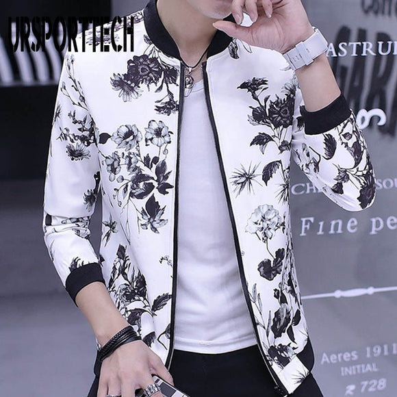 URSPORTTECH Printed Men Jackets Spring Bomber Jackets Male Streetwear Coats Men's Zipper Jacket Casual Streetwear Slim Fit Coat